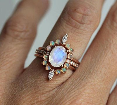 SOLID-14K-ROSE-GOLD-REAL-RAINBOW-MOONSTONE-OPAL-DIAMOND-ENGAGEMENT-WEDDING-RING