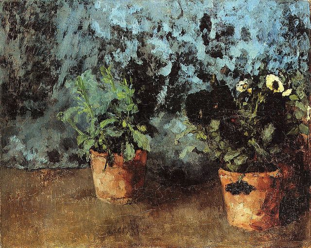 Carl Eduard Schuch – Two Flower Pots with Pansies
