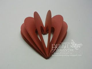 Tutorial on how to create a 3D heart with Stampin' Up! products by Debbie Henderson, Debbie's Designs.