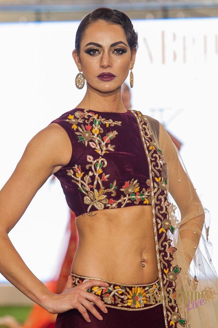 Purple velvet floral embroidered lengha Kajals-couture-INDIAN-PAKISTANI-WEDDING-FASHION