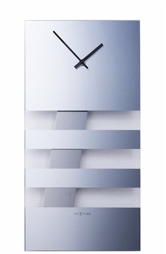 NeXtime Bold Stripes Mirror - Klok - Rechthoekig - Glas - 19x38 cm - Zilverkleurig