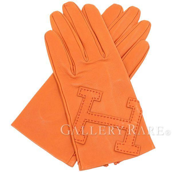 エルメス グローブ 手袋 Hモチーフ ラムスキン レディースサイズ8 HERMES ソルド品