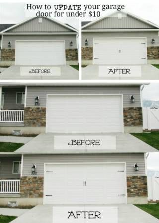 Great quick and cheap curb appeal trick! - - I really want a garage door & this just shows how even the most basic of doors can be updated to look fabulous.