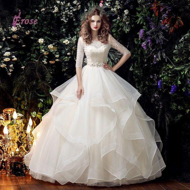 Скромные свадебные платья 3 4 рукавом совок шеи кружева из органзы раффлед свадебное платье с бусины 2016 Vestido де Noiva W08