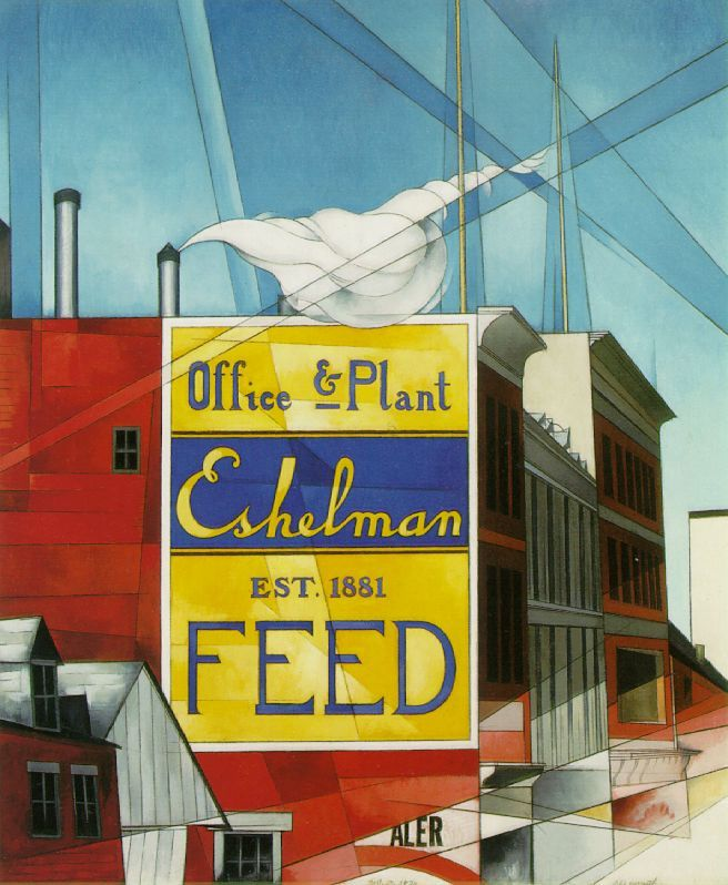 Charles Demuth (American 1883–1935) [Precisionism] Buildings, Lancaster, 1930.