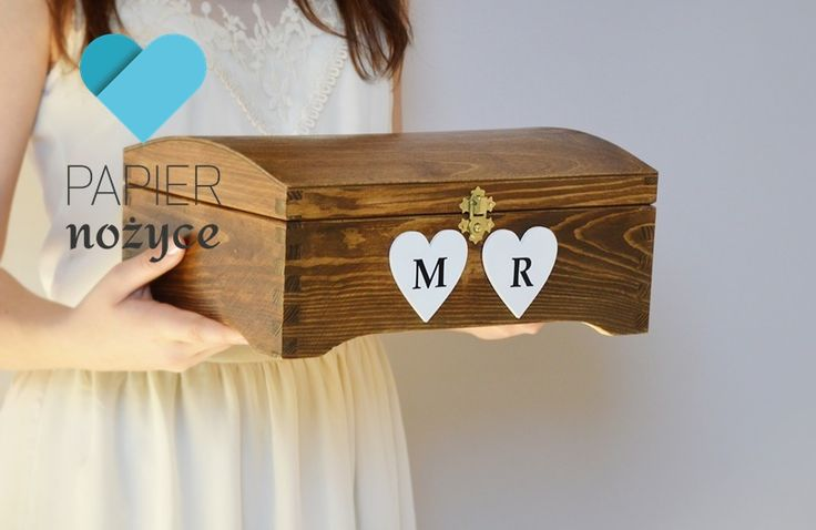 "Personalizowany kufer na koperty ślubne""Rustic box III"""