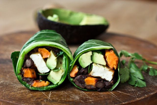 feasting at home: Collard Green Wraps with Roasted Yam and Chipotle Black Beans