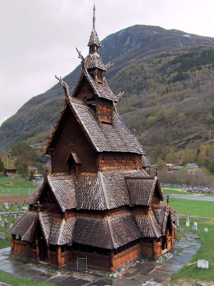 A beautiful Norwegian stavkirk church.  These wooden churches are works of art.
