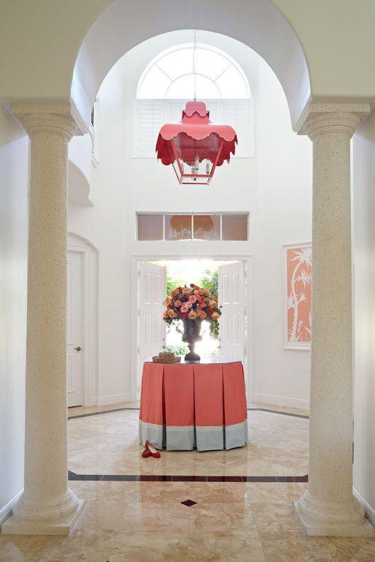 table skirt + lantern... Palm Beach style