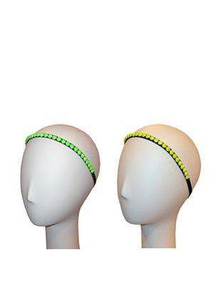 56% OFF Marie Hayden Women's Elastic Spike Headband Set, Yellow/Green