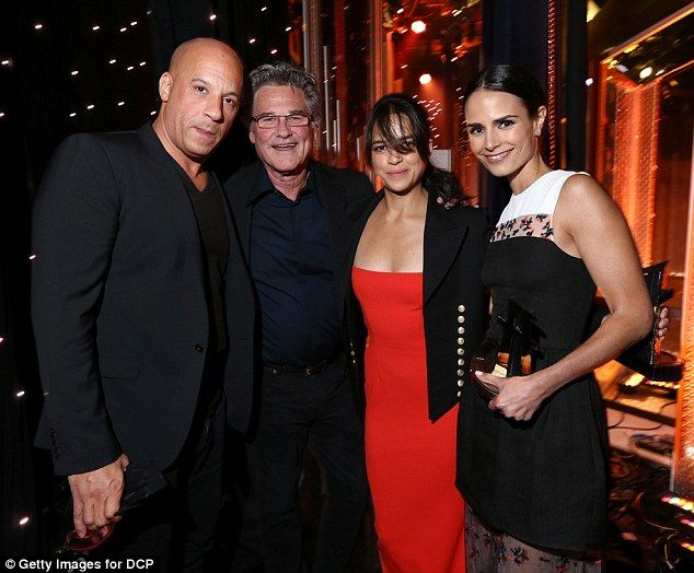 Honored: Two days prior Michelle had joined co-stars (L to R) Vin Diesel, Kurt Russell, and Jordana Brewster as Furious 7 received thethe Hollywood Blockbuster Award at the Hollywood Film Awards