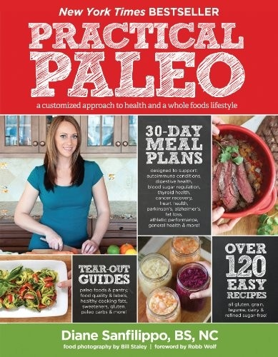 Practical Paleo: A Customized Approach to Health and a Whole-foods Lifestyle by Diane Sanfilippo. This book has been SO helpful. I've now been Paleo since July of 2012. I started by accident - doing an elimination diet. The foods that bothered me were grains, dairy, sugars, and white potatoes. I then discovered Paleo eating!