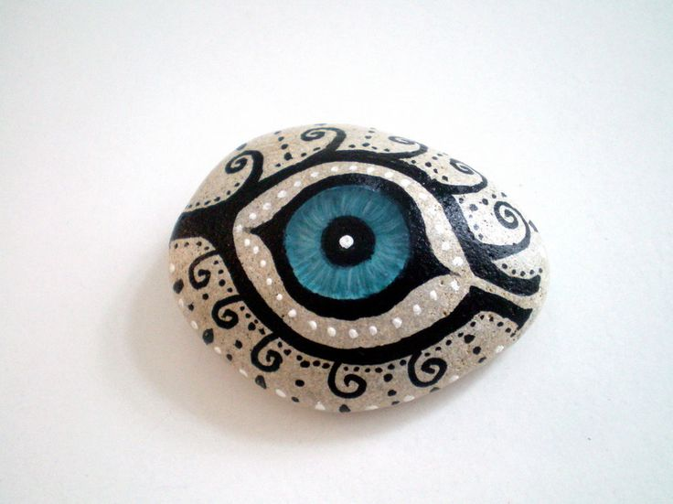Mystic Evil Eye - Painted Stone, handpainted healing  meditation stone.