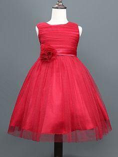 Vestido de Niña Florista - Corte A Hasta la Rodilla - Algodón / Tul / Poliéster Sin Mangas - USD $ 29.99