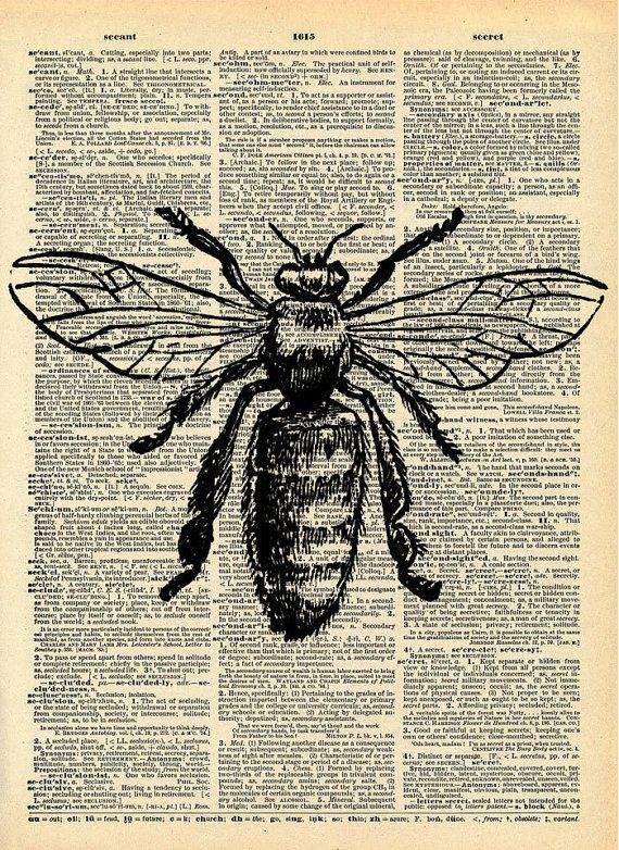 Bee Print - Vintage Dictionary Art Print - Natural History Insect Art - Upcycled Altered Art Book - Rustic Home Decor Print on Etsy, $10.00