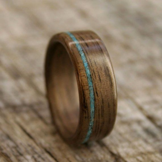 walnut bentwood ring with offset turquoise inlay. Black Bedroom Furniture Sets. Home Design Ideas