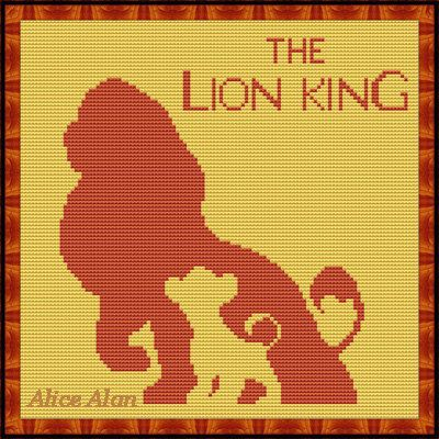 Cross Stitch Pattern Disney cartoon Silhouettes lions Lion