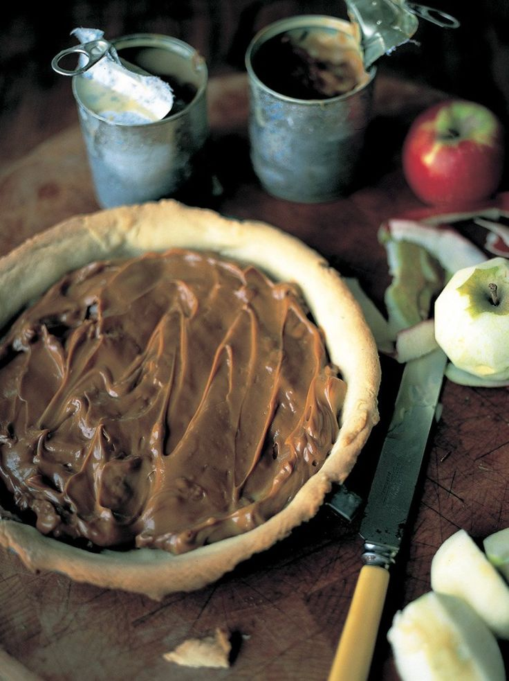 Toffee Apple Tart by Jamie Oliver. My lovely, little-bit- naughty toffee sauce filling makes this apple tart recipe a total winner.