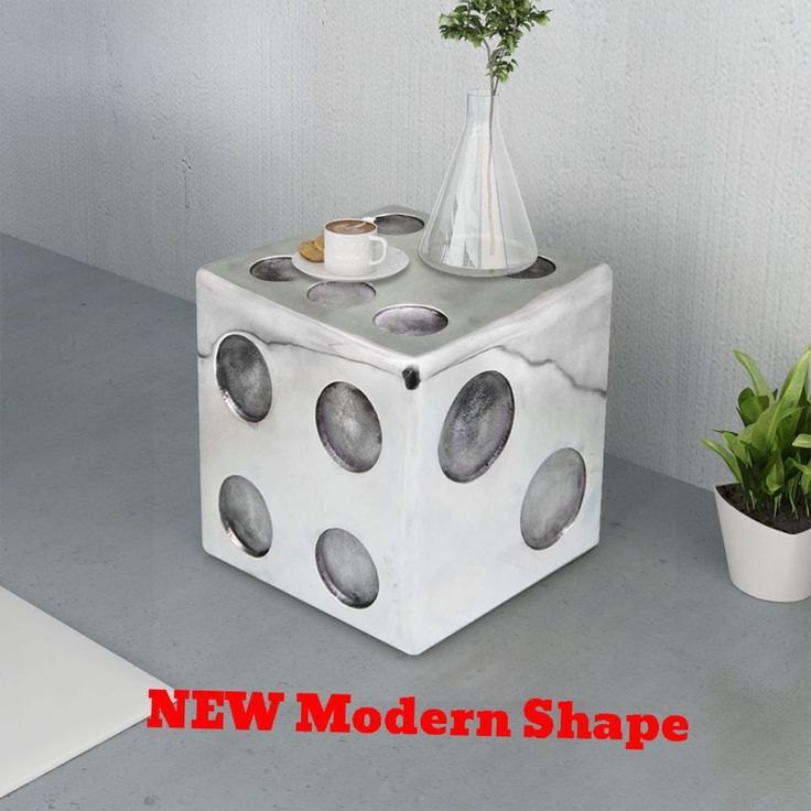 Unusual Coffee Table Stool Side End Tray Dice Aluminium Display Modern  Furniture