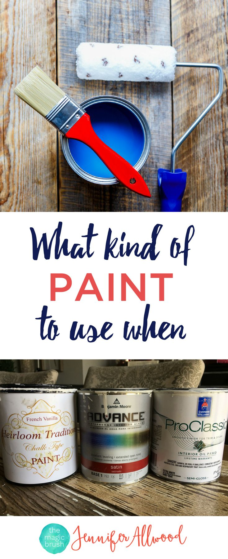 What type of paint to use and when. Know the difference between Chalk paint vs Latex Paint vs Oil-based Paints with this free paint guide reference sheet | Learn what surfaces to which paints on, the pros and cons of each kind of paint | What kind of Paint to use on Kitchen Cabinets and Furniture | Free Paint Guide by theMagicBrushinc.com