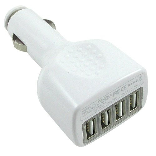 4-Port USB Car Charger - Quad Auto Power - Ideal for iPod, iPhone, GPS, Cell Phones, and More