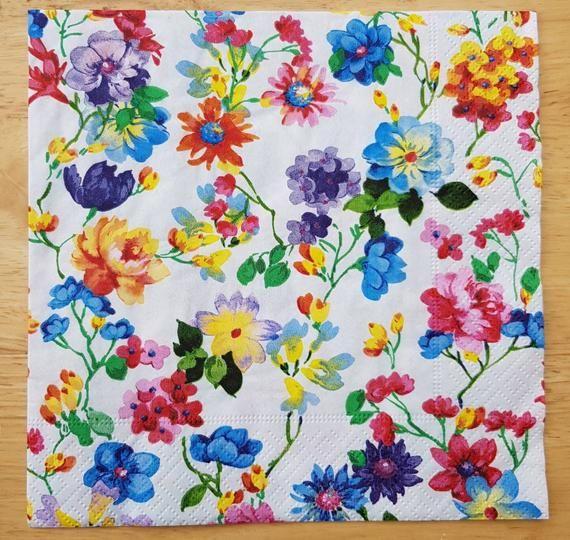 "Country Style Hydrangea Design Set of 4 Cotton Napkins Purple Flower 18/"" x 18/"""