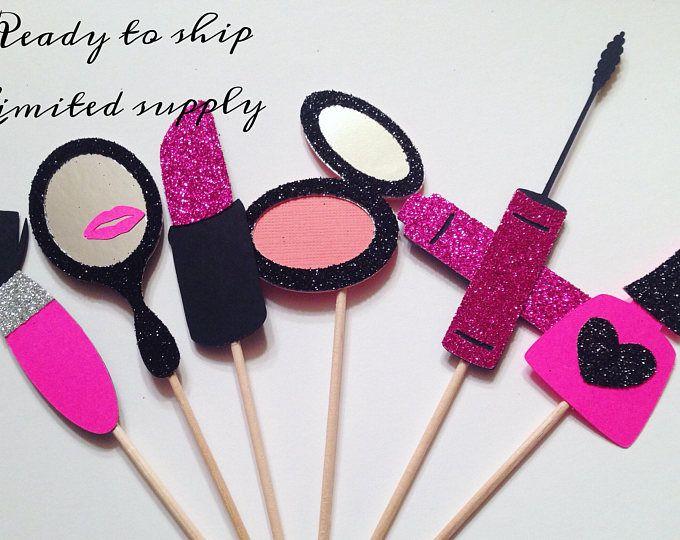 Maquillaje fiesta Cupcake Toppers - juego de 12 | Listo para enviar | Decoraciones fiesta Spa | Maquillaje fiesta