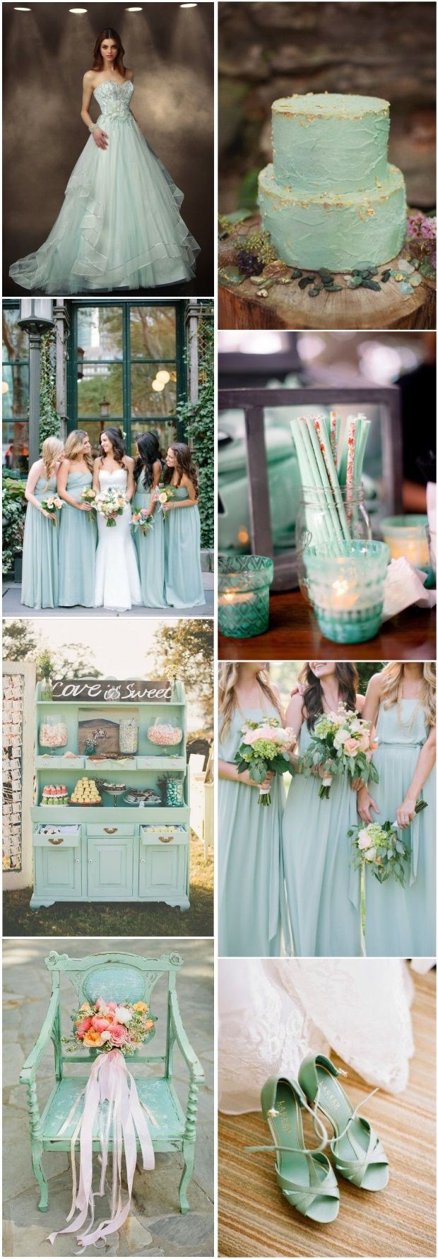 50 Mint Wedding Color Ideas You will Love   http://www.deerpearlflowers.com/mint-wedding-color-ideas/
