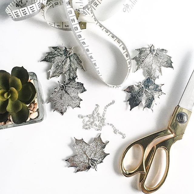 With #Canada150 fast approaching, we're busy making maple leaf necklaces. #birchjewellery