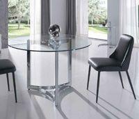 Mesa comedor redonda en cristal templado - Mesa comedor redonda en cristal templado