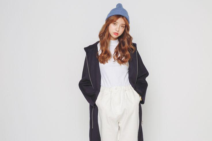 MUSICA!【11203136】韓國訂製款。超好看連帽拉鍊質感羊絨毛呢大衣外套