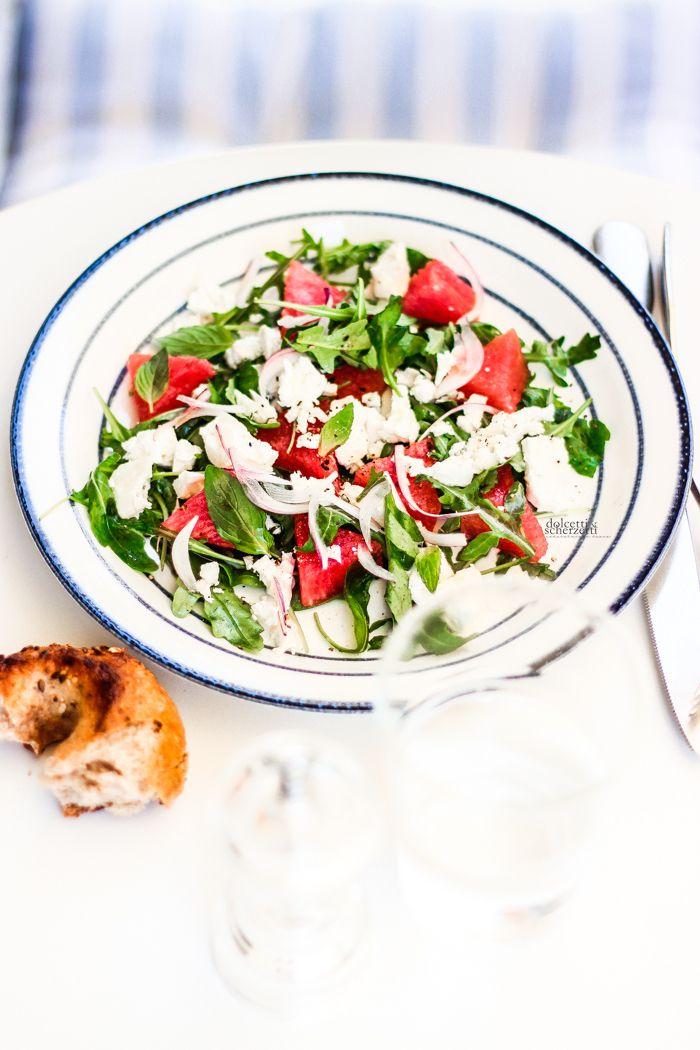 watermelon, feta, mint and rocket salad - insalata di anguria, feta, menta e rucola