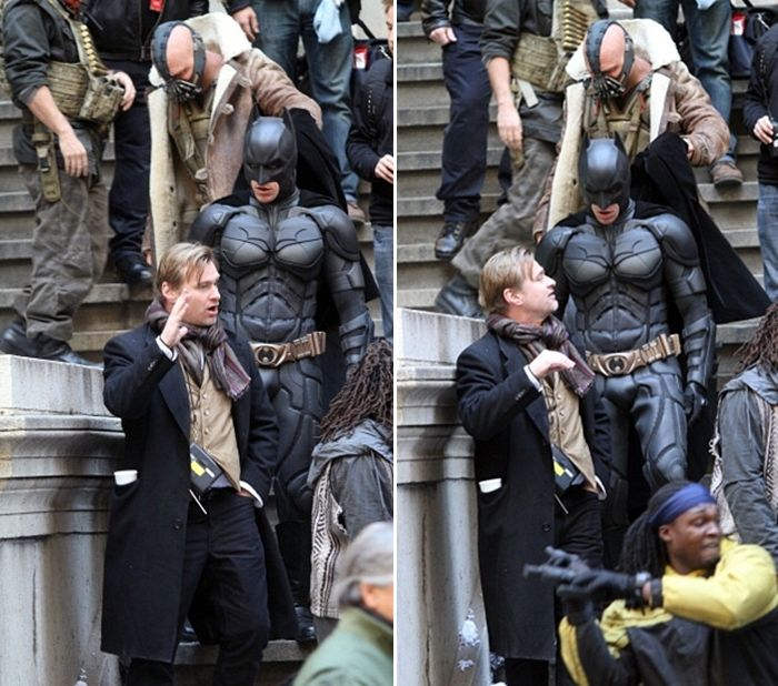 """Tom Hardy (Bane) is helping Christian Bale (Batman/Dark Knight) with his cape on the set of """"The Dark Knight Rises""""! <3 it. :)"""