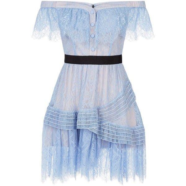 The Shoulder Blue Lace Mini Dress ($188) ❤ liked on Polyvore featuring dresses, vestidos, short blue dress, short dresses, mini dress, fit-and-flare dress and off-shoulder lace dresses