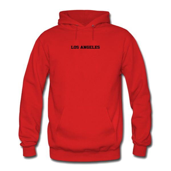 los angeles red hoodie from teeshope.com This hoodie is Made To Order, one by one printed so we can control the quality.