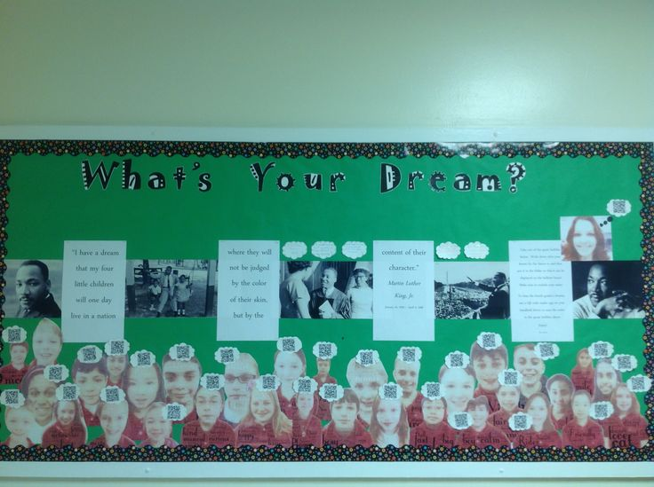 Martin Luther King, Jr. bulletin board. Qr codes in the clouds link to ...
