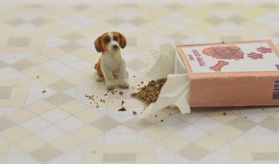 Miniature Ooak Hand Carved Wood Tiny Beagle Puppy In A Little
