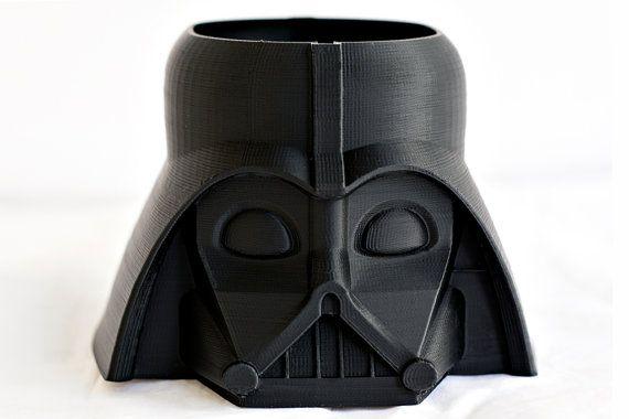 Darth Vader Pot, Star Wars, Pencil Holder, Lego head, Darth Vader Head, Flower planter, Garden, Darth Vader planter,