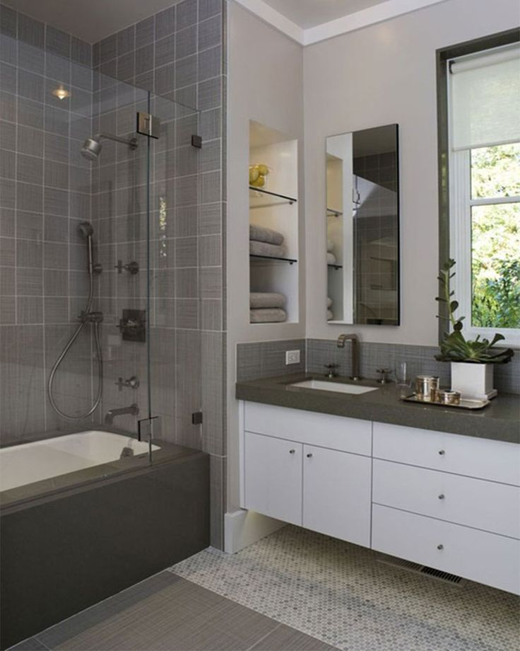 Gallery For Photographers Bathroom Modern Small Bathroom Remodeling Idea With Bathtub Designed With Glass Door Combine With Grey Tile Wall And White Bathroom Vanity Plus Dark Grey
