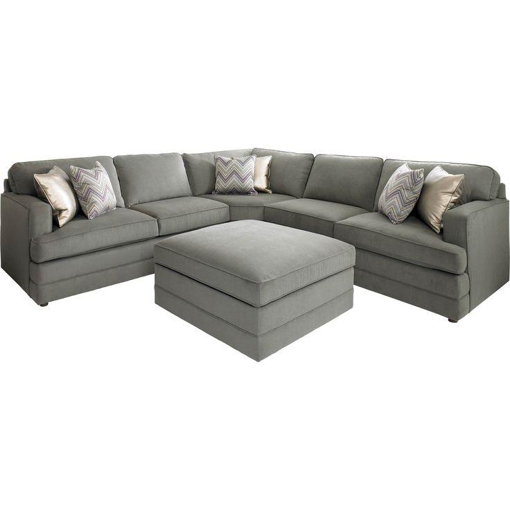 Bassett Dalton L-Shaped Sectional Sofa With Ottoman
