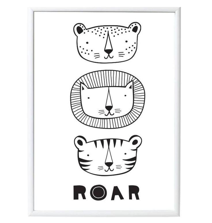 Prachtige poster met een stoere tijgers met de tekst 'Roar'. Zo leuk voor elke kinderkamer of speelkamer!
