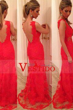 2016 V-Cuello Tulle Vestidos de noche vaina / columna US$ 209.99 VEPTLKS4BY…