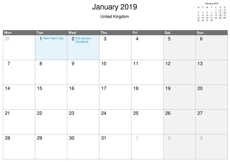 Printable January 2019 Calendar UK Free Printable February 2019
