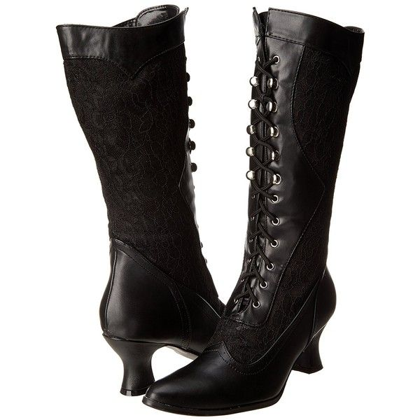 Amazon.com | Ellie Shoes Women's 253 Rebecca Victorian Boot, Black, 8... ($69) ❤ liked on Polyvore featuring shoes, boots, black victorian boots, mid-calf boots, calf length boots, mid calf length boots and wide width boots