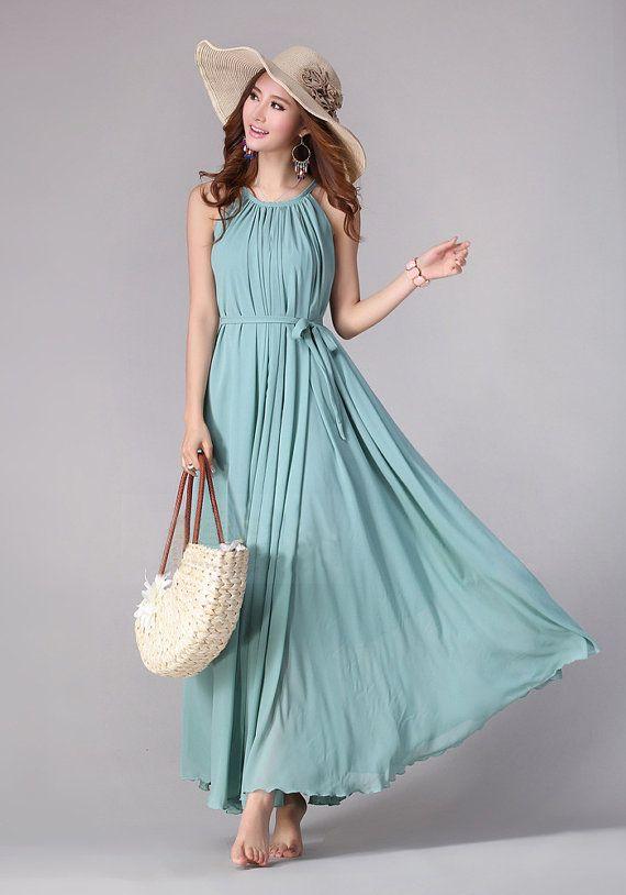 Sundress Boho Long Maxi Dress Holiday Beach Dress Plus size Available Small Regular Tall on Etsy, $55.00