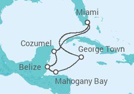 Itinerário do Cruzeiro Caraíbas Ocidentais - Carnival Cruise Line