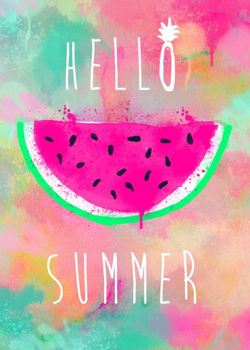 Hello Summer #Watercolour #Pineapple #Illustration #Watermelon