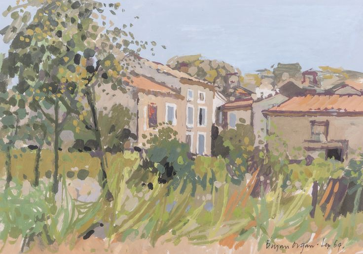 Lot 379 - Bryan Organ South of France (Sept 1964) signed and dated gouache 24cm x 33cm Provenance: Acquired