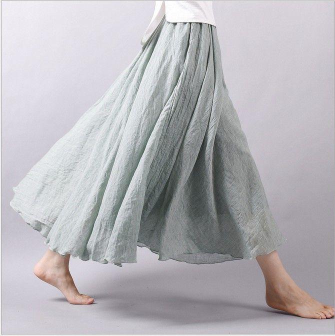 Cotton Linen Comfortable Elastic Waist Maxi Skirt Women Elegant Boho Skirts SK004