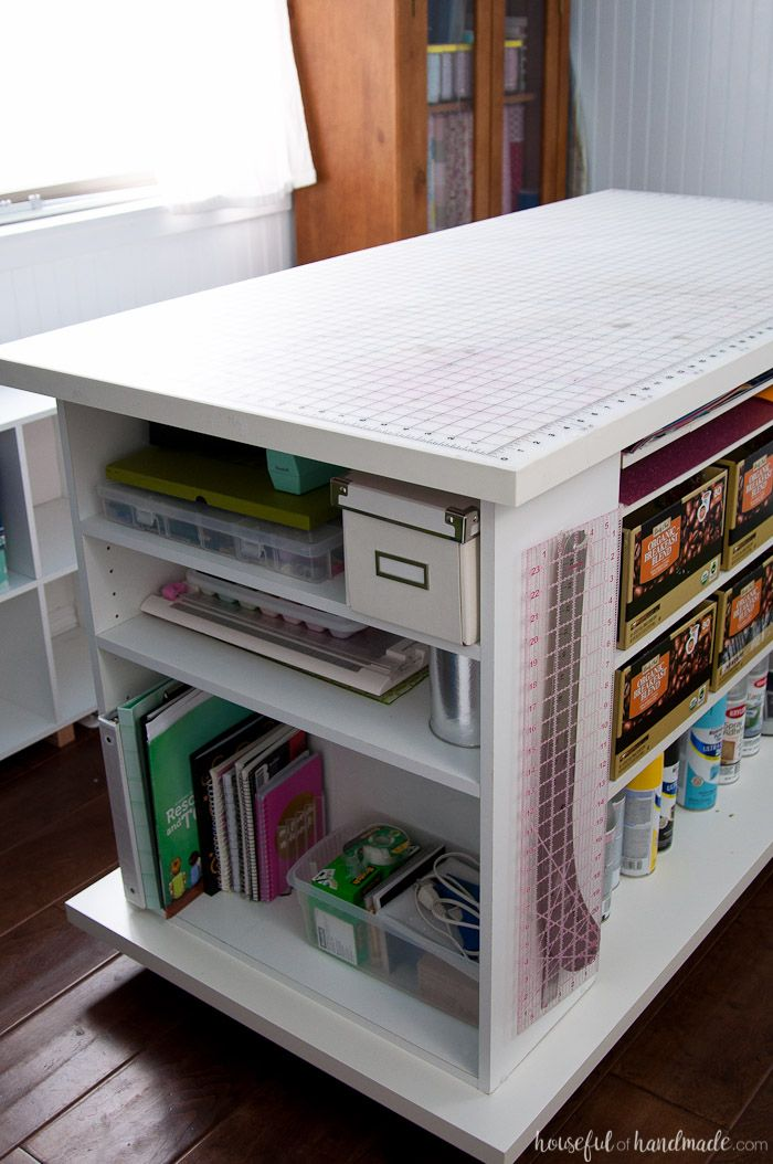 Upcycled Bookcase Rolling Work Table Sewing Room Design Craft Room Tables Craft Tables With Storage